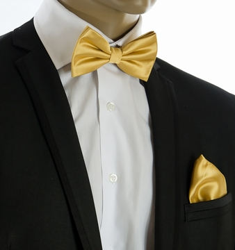 8cbc427e78be8 Gold Bow Tie and Pocket Square Set (BT100-JJ)