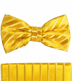Gold Bow Tie and Pocket Square Set by Paul Malone . 100% Silk (BT681H)