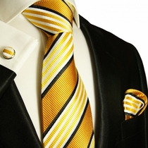 Gold Bronze Paul Malone Silk Tie Set (264CH)