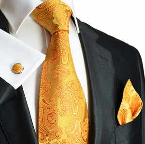 Gold Paisley Paul Malone Silk Necktie Set (910CH)