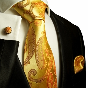 Gold Paisley Paul Malone Silk Tie Set (517CH)