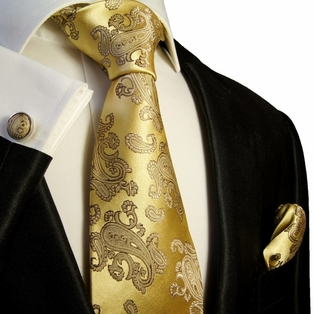 Angel Blue and Gold Paisley Silk Necktie Set by Paul Malone