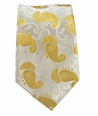 Gold Paisley Slim Silk Tie by Paul Malone