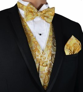 Gold Paisley Vest and Bow Tie Set by Paul Malone