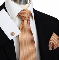 Gold Paul Malone Necktie Set , 100% pure Silk (962CH)