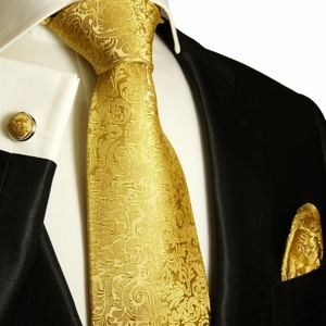 Gold Paul Malone Silk Necktie Set (902CH)