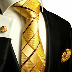 Gold Paul Malone Silk Tie Set (538CH)