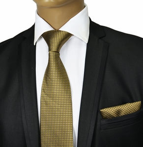 Medal Bronze Silk Tie & Pocket Square by Paul Malone