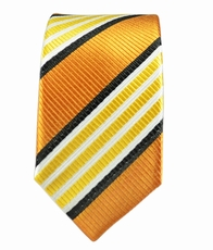 Gold Striped Boys Necktie. 100% Silk