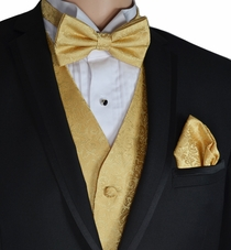 Gold Wedding Vest and Bow Tie Set by Paul Malone