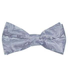 Gray Paisley Bow Tie . Pretied or Self-tie  (BT20-D)