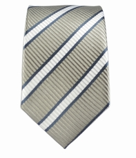 Gray Striped Boys Necktie . 100% Silk