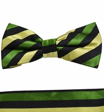 Green and Black Bow Tie and Pocket Square Set by Paul Malone . 100% Silk (BT882H)