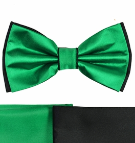 Green and Black Bow Tie with 2 Pocket Squares