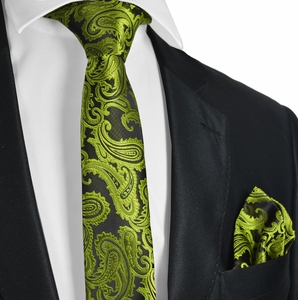 Green and Black Paisley Tie & Pocket Square
