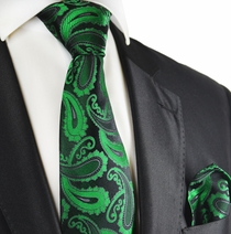 Green and Black Paisley Silk Tie Set by Paul Malone