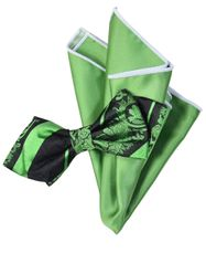 Green and Black Silk Bow Tie with Rolled Trim Pocket Square