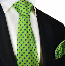 Green and Blue Paul Malone Silk Tie and Pocket Square