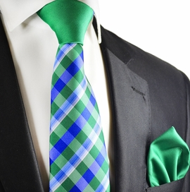 Green and Blue Plaid Contrast Tie Set by Paul Malone