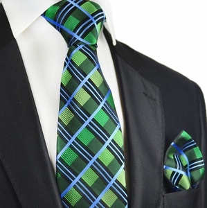 Green and Blue Plaid Silk Tie Set by Paul Malone
