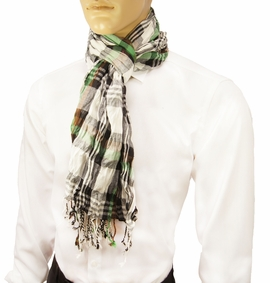 Green and Brown Men's Cotton Crinkle Scarf by Paul Malone