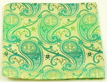 Green and Gold Pocket Square . 100% Silk (H817)