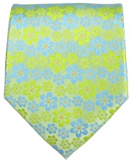 Green and Light Blue Floral Men's Tie
