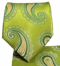 Green and Orange Paisley Tie and Pocket Square