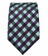 Green and Purple Slim Silk Tie by Paul Malone