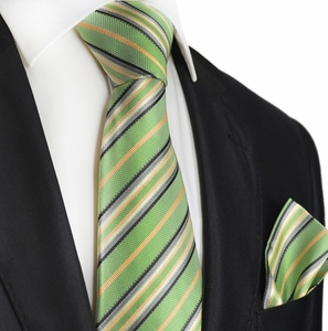 Green and Salmon Striped Silk Tie Set by Paul Malone
