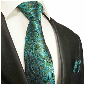 Green and Turquoise Paisley Silk Tie Set by Paul Malone