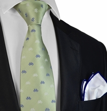 Green Bicycle Paul Malone Necktie and Pocket Square
