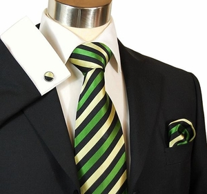 Green & Black Striped Paul Malone Silk Tie Set (882CH)