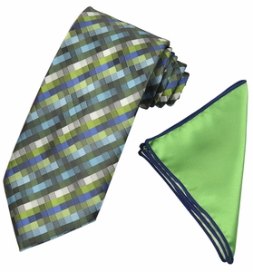 Green Checked Tie with Contrast Rolled Pocket Square