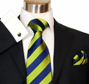 Green & Navy Club Silk Tie Set by Paul Malone