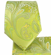 Green Paisley Necktie and Pocket Square Set