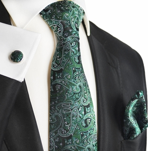 Green Paisley Silk Men's Tie Set by Paul Malone