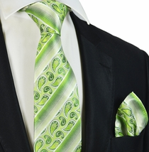 Green Paisleys and Striped Silk Tie Set by Paul Malone