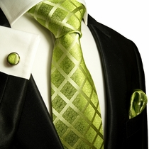 Green Paul Malone Silk Necktie and Pocket Square Set (729CH)