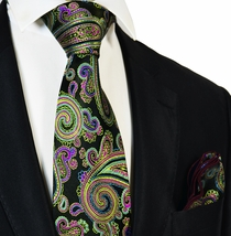 Green, Purple and Black Steven Land Big Knot Silk Tie and Pocket Square
