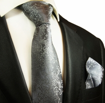 Grey Silk Tie and Pocket Square Set by Paul Malone