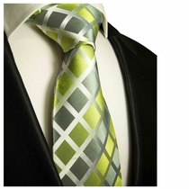 Green & Silver Paul Malone Silk Tie (460)