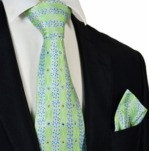 Green Steven Land Crystal Silk Tie and Pocket Square Set