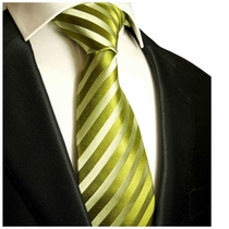 Green Striped Necktie by Paul Malone . 100% Silk (984)
