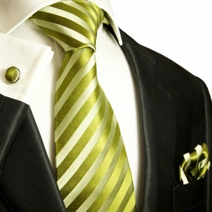 Green Striped Necktie Set by Paul Malone. 100% Silk (984CH)