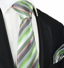 Green Striped Silk Tie and Pocket Square by Paul Malone