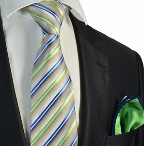 Green Striped Tie and Rolled Pocket Square Set