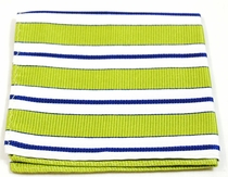 Green, White and Navy Striped Pocket Square (H103)