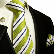 Green, White & Navy Blue Paul Malone Silk Tie Set (103CH)