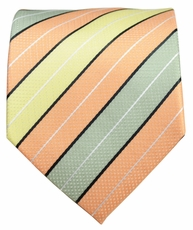 Green, Yellow and Mock Orange Men's Tie